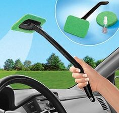 "Clean car window interiors without  straining! 16"" long handle easily extends to hard-to-reach window bases, nooks and crannies, while the pivoting head follows curved windshield surfaces for even cleaning. Washable microfiber pad (two included) removes more dirt and dust; cleans using plain tap water—no cleaning sprays needed! Set comes with spray bottle (keep handy in your glove box!).  $9"