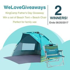 We Love Giveaways #KingCamp #Father's #Day #Giveaway! #contest #sweepstakes (End by 6/20/2017) Join us to win a set of #KingCamp #Beach #Tent + Beach #Chair Beach Tent: bit.ly/614KCMP1 Beach Chair: bit.ly/614KCMP2 2 WINNERS!