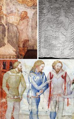 Top left: Count Porro offers to Madonna, from chapel in Lentate sul Seveso, c. 1370 - Pinacoteca di Brera, Milan Top right: Quilted textile from Florence, 1360-1400 - Victoria & Albert Museum, London, no. 1391-1904 Bottom: Guiron le Courtois, Lombardy, 1370-1380 - Paris, BNF, Nouvelle acquisition française 5243