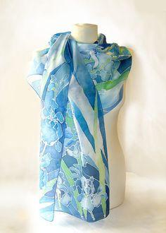Silk scarf  IRIS scarf   hand painted scarves  silk by MinkuLUL