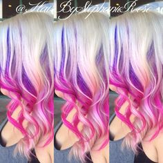 Purple to Pink Ombre Peekaboos on Blonde Hair - Hair Colors Ideas Blonde Pink Balayage, Purple Blonde Hair, Blonde With Pink, Balayage Ombré, Hair Color Purple, Hair Dye Colors, Blonde Color, Cool Hair Color, Ombre Hair