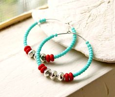 summer red aqua and silver beaded hoops silver by pixiestrinkets, $10.00