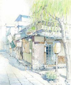 Watercolor Illustration, Watercolor Paintings, Art Sketches, Art Drawings, Watercolor Architecture, Studio Ghibli Art, Background Drawing, Urban Sketchers, Landscape Art