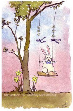 Easter Card  Bunny Rabbit Art  Funny Bunny от tylersworkshop