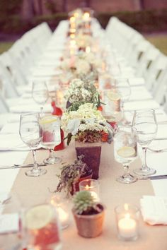 We love this al fresco tablescape. We can't think of anything more romantic than dining under the stars at your wedding reception. Photo by Sarah Kate, Photographer #wedding #alfresco #tablescape #centerpieces