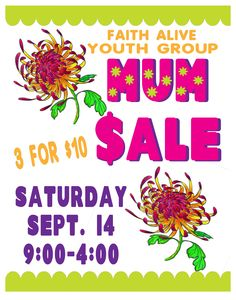 Mums for Sale! Fundraising Poster