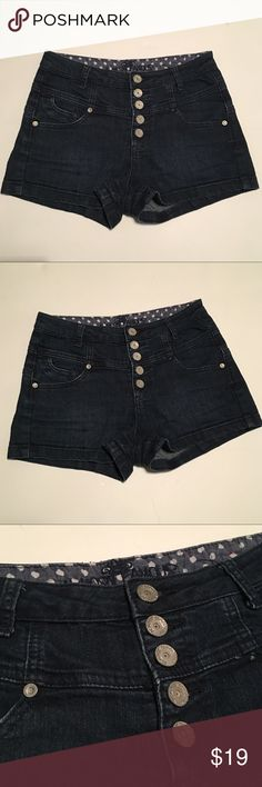 Almost Famous High Waisted Button Up Denim Shorts Super stylish Denim shorts in excellent condition. High waisted Button front. Cute and perfect for summer! Almost famous. Size 5 Almost Famous Shorts Jean Shorts