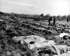 Hundreds of dead soldiers in stretchers covered with a blankets after D-Day. Killed during Normandy landings, they lie in a temporary cemete...