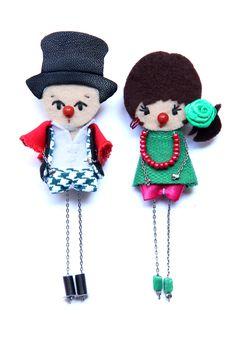 Clowns. # felt dolls # brooche doll # custom doll # minimis