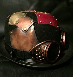 Black Steampunk Bowler Top Hat, With OOAK Antiqued Mixed Metal And Leather Plate / Patch Design With Pins, Copper Effect Goggles by Steampunkbyben on Etsy