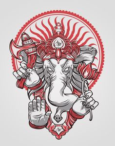 Ganesh by Schorer on DeviantArt Ganesh Tattoo, Ganesha Art, Hindu Tattoos, Symbol Tattoos, Arte Dope, Dope Art, Psy Art, Thai Art, Graffiti Art