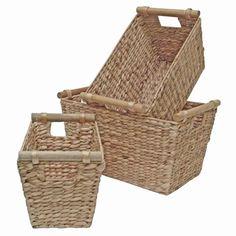 Water Hyacinth Wicker Storage Basket, Wood Handles - Bedroom, Kitchen, Hamper