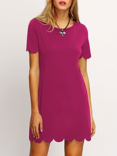 Buy it now. Hot Pink Buttoned Keyhole Back Scallop Dress. Hot Pink Elegant Casual Cute Polyester Round Neck Short Sleeve A Line Short Cut Out Button Scallop Plain Fabric has some stretch Summer Tunic Dresses. , vestidoinformal, casual, camiseta, playeros, informales, túnica, estilocamiseta, camisola, vestidodealgodón, vestidosdealgodón, verano, informal, playa, playero, capa, capas, vestidobabydoll, camisole, túnica, shift, pleat, pleated, drape, t-shape, daisy, foldedshoulder, summer, lo...