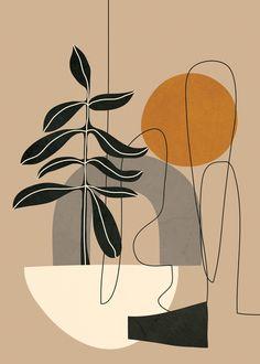 Abstract Shapes 04 Mini Art Print by Nadja - Without Stand - x Abstract Line Art, Abstract Shapes, Geometric Art, Abstract Print, Art Abstrait Ligne, Art Et Illustration, Inspiration Art, Minimalist Art, Aesthetic Art