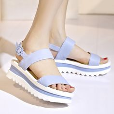 Wedge shoes by using stopper feet are warm weather footwear apparel essentials. Sandals Outfit, Women's Shoes Sandals, Wedge Sandals, Pumps Heels, Wedge Shoes, Shoe Wedges, Look Fashion, Fashion Boots, Clearance Shoes