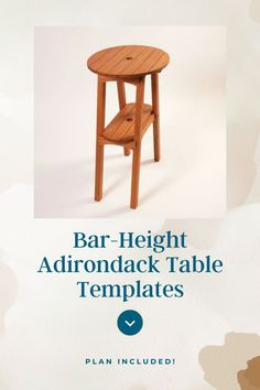 Tall height is perfectly matched for our Bar Height Adirondack Chairs. Buy the optional stainless steel hardware pack for the ultimate in convenience! #CreateWithConfidence #BarHeight #Adirondack #Table #Templates #WoodworkingPlans