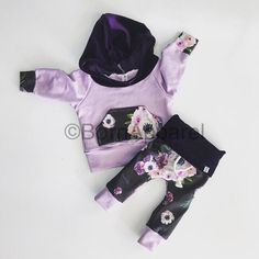 Floral / baby girl outfit / purple / hospital outfit / baby girl clothes / baby clothes / floral print / spoonflower / velvet / babes