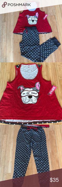 NWT - French Bulldog Pajama Set Tank and pant sleepwear set. French Bulldog print. Never worn - brand new with tags. Size M. Sleep & Co Intimates & Sleepwear Pajamas