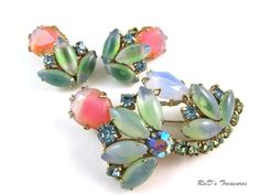 Vintage Pink Green Art Glass & Rhinestone Brooch & Clip On Earrings SET in Jewelry & Watches, Vintage & Antique Jewelry, Costume | eBay