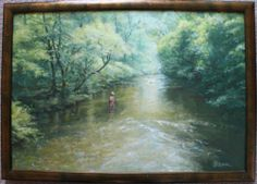 """Excellent original oil painting by celebrated artist Ian Roan (who has another picture exhibited on BBC - Your Paintings).  Titled """"The Tiddler"""", subject is a river scene with fisherman returning a small fish.  Framed and signed, unglazed, in excellent condition.  Size is 36cm x 53cm."""