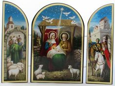 Nativity Triptych Icon, Jesus and Family in Bethlehem, Authentic Russian Icon Early Christian, Christian Gifts, Son Of David, Birth Of Jesus Christ, Russian Icons, Christmas Icons, Religious Gifts, Triptych, Holy Spirit