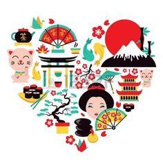 Symboles Japon mis en forme de coeur avec des ic�nes alimentaires et voyages traditionnelles illustration vectorielle photo