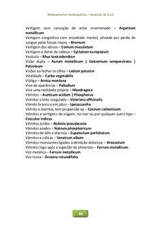 Medicamentos Homeopáticos – Sintomas de A a Z 66 Vertigem com sensação de estar envenenado – Argentum metallicum Vertigem ...