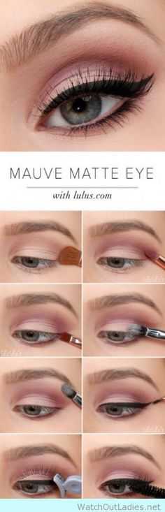 Softly pink eye make up with dramatic cat eye liner tutorial - watchoutladies.net
