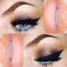 Very dramatic cat eye with blue liner/shadow under eyes and pale pink lips.