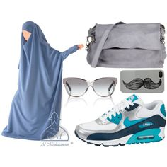 A fashion look from June 2014 featuring NIKE athletic shoes, Corsia shoulder bags and Tory Burch sunglasses. Browse and shop related looks. Niqab Style, Niqab Fashion, Hijab Fashion Inspiration, Studded Purse, Linen Tunic, Islamic Clothing, Islamic Fashion, Hijab Outfit, Abayas