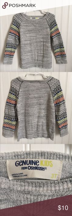 ✨Multi colored sweater | 3T This is the perfect sweater to grow with. Wear it as a dress, then with some leggings and then a sweater later. Super cute on! Smoke and pet free home. Only hung dried. Osh Kosh Shirts & Tops Sweaters