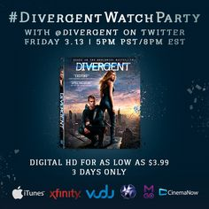 Catch up on #Divergent before #Insurgent! Beginning tomorrow, own it for as low as $3.99!  Grab your copy & watch with @Divergent on Twitter for a live #DivergentWatchParty (5pm PST/8pm EST) and for chances to win 46 prizes, including #InsurgentTickets! Divergent Trilogy, Divergent Insurgent Allegiant, He Chose Me, Saga, Good Books, Series 4, Watch, Live, Twitter