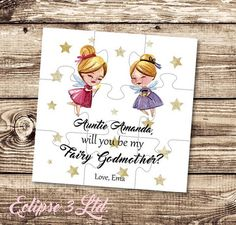 adc28daf1a7 Will you be my Fairy Godmother gift card Godmother puzzle Asking Godmother  proposal Christening gift Baptism gift be my Godparents gift card