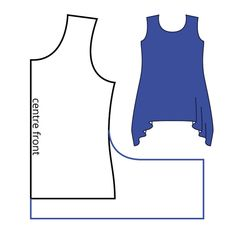My probably-not-industry-compliant pattern diagram illustrates how to adapt a t-shirt to have a hanky hem. Tunic Sewing Patterns, Sewing Blouses, Clothing Patterns, Fashion Sewing, Diy Fashion, Ideias Fashion, Umgestaltete Shirts, Diy Clothing, Sewing Tutorials