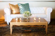 La Tavola Fine Linen Rental: New York Aqua & New York Copper Pillows