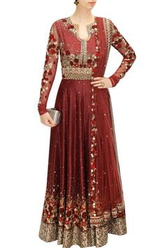This floor length rawsilk flared anarkali is featuring in maroon and beige floral motifs embroidered all over it. It has silver applique work all around the hem. It is paired with matching churidaar a Red Lehenga, Indian Bridal Lehenga, Anarkali Dress, Lehenga Choli, Anarkali Suits, Mehndi, Henna, Indian Fashion Designers, Indian Designer Wear