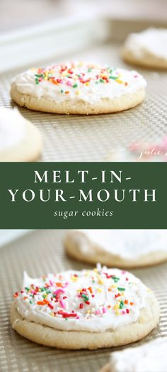 Melt in Your Mouth Sugar Cookies – The Best Christmas Cookies Chocolate Sugar Cookie Recipe, Sugar Cookie Recipe Easy, Iced Sugar Cookies, Sugar Cookie Frosting, Christmas Sugar Cookies, Easy Cookie Recipes, Christmas Desserts, Christmas Baking, Easy Desserts