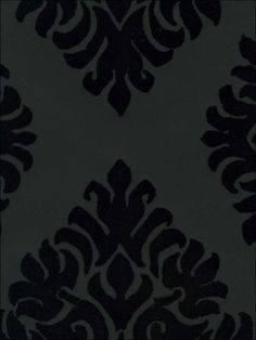 French Garden Damask Velvet Flocked Wallpaper in Ebony from the Plush Collection by Burke Decor