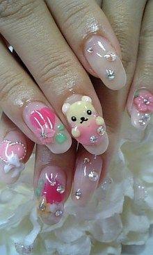 Nails, Nail Art, Nail Design, Japanese Nail Art, Kawaii, Cute, Manicure, Acrylics, Long Nails, Oval Nails, Bear, Hearts, Flowers, Floral, Bow, Rhinestones, Pink, Hot Pink, Yellow, Green, White, Silver