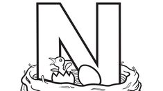 Alphabet Series: N - Nest - Grandparents.com Letter N coloring page