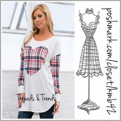 Plaid Heart Tunic Top Perfect timing for Valentines Day. Red and blue plaid heart and sleeve tunic. Pair with denim or leggings. Made of cotton blend. Size S, M, L Threads & Trends Tops Tunics