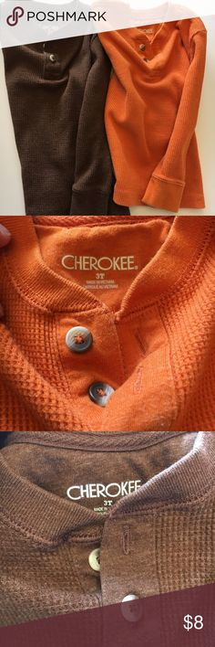 (2) Cherokee Boys Thermal Shirts Two boys thermals for the price of one. Gently worn but light fading from washing. Cherokee Shirts & Tops Tees - Long Sleeve