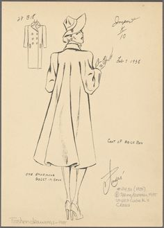 Coat of Brick Red (Feb 7th 1938). Fashion Plate by Andre. From the NYPL Picture Collection
