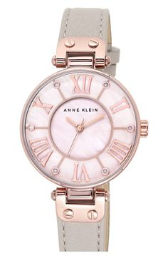 Anne Klein Crystal Index Leather Strap Watch, 34mm available at #Nordstrom