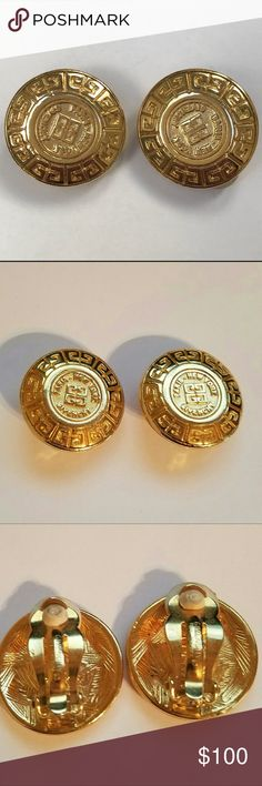 Vintage 80's Givenchy clip on gold logo earrings In amazing condition, like new. One inch big. Givenchy Jewelry Earrings