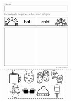 Winter Preschool Math and Literacy No Prep worksheets and activities. A page from the unit: hot and cold weather sorting