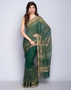 4420e48e9fd7 Silk CottonMaheshwariKhari PrintButi Palla6.4m x 1.16mSari with Blouse  Piece*The blouse used