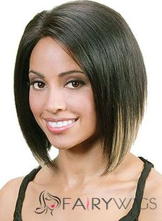 Afro American Short Straight Black No Bang African American Lace Wigs for Women 12 Inch