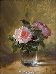 """Roses in december"", oil on canvas. Painter Vladimir Volegov"
