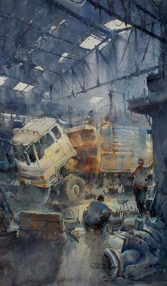 The garage No.3 (watercolor, 26x43 cm)